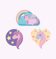 set of cute unicorns fairy tale vector image
