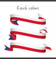 set of three ribbon with the czech tricolors vector image