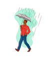 sketch african man walking rain umbrella vector image