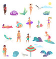 summer people activity in the ocean beach icons vector image vector image