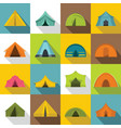 tent forms icons set flat style vector image vector image