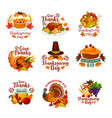thanksgiving day autumn holiday icons vector image vector image
