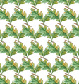 Watercolor Seamless pattern with oak leaves vector image vector image