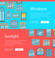 window flat icons horizontal banners vector image vector image