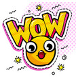 wow yellow wondered smile vector image vector image