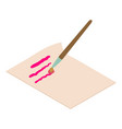 write letter icon isometric 3d style vector image vector image
