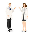 young happy doctors couple cartoon flat style on vector image