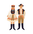 young people in czech national clothing couple vector image vector image