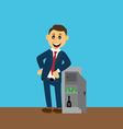 businessman standing near the safe vector image