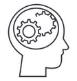 human head with gears line icon sign vector image