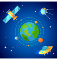 planet earth and satellites in orbit vector image