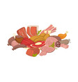 fresh raw meat and paultry in big heap vector image