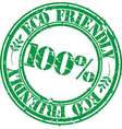 100 percent eco friendly grunge stamp vector image vector image