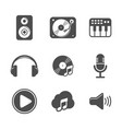 audio icon set black version design vector image