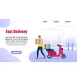 bearded guy delivery service order shipping pizza vector image vector image