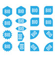 bio sticker set blue promotion labels modern flat vector image