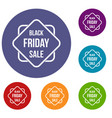 black friday sale sticker icons set vector image vector image
