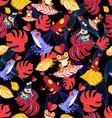 bright seamless pattern with lovers frogs vector image vector image