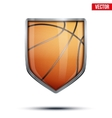 Bright shield in the basketball ball inside vector image vector image
