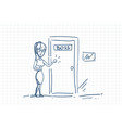 business woman knock boss door doodle over squared vector image