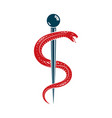 caduceus symbol made using poisonous snakes vector image vector image