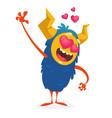 cartoon blue horned monster in love vector image vector image