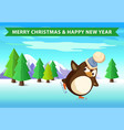 christmas and new year penguin skating in forest vector image vector image