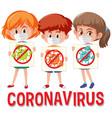 coronavirus logo with three teenagers holding vector image vector image