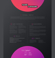 creative simple cv template with colorful vector image vector image