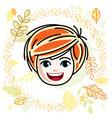 cute girls face human head redhead character vector image