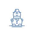 cute snowman line icon concept cute snowman flat vector image vector image