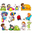 Daily activities of kids vector image vector image