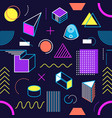 dark seamless pattern memphis style shapes vector image