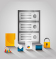 data server center technology email file security vector image