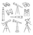 doodle binocular explorer equipment vector image