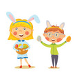easter kids in bunny ears with basket full of eggs vector image vector image