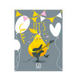 flat funny pear fruit character playing vector image