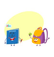 funny smiling backpack and notebook characters vector image vector image
