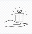 gift box present on palm hand icon on transparent vector image vector image