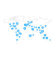 global world map with lots social likes vector image