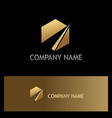 gold polygon business company logo vector image
