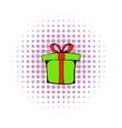 Green gift box icon comics style vector image vector image