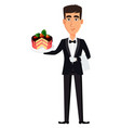 handsome waiter wearing a professional uniform vector image vector image