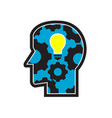 head with light bulb and cog retro vector image