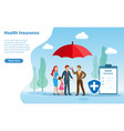 insurance agent holding umbrella protect family vector image