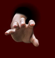 male hand stretch out from black hole vector image vector image