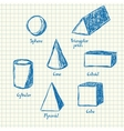 Math shapes doodle vector image vector image