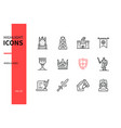 middle ages - modern line design style icons set vector image