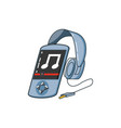 music player device with headphone vector image