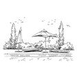 pool black and white quirky sketch vector image